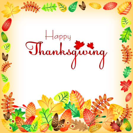 profusion: Postcard with colorful autumn leaves for congratulations with happy Thanksgiving. Vector illustration Illustration
