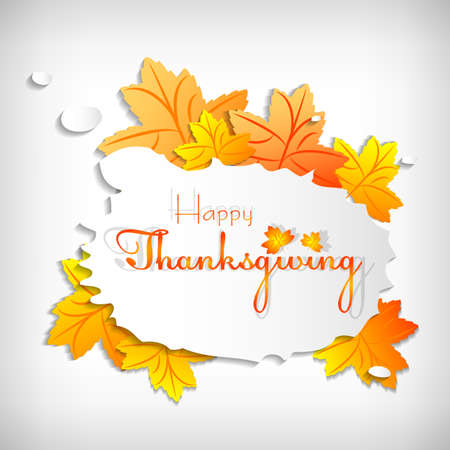 profusion: Postcard with stylized paper maple and bubble for greeting with happy Thanksgiving. Vector illustration Illustration