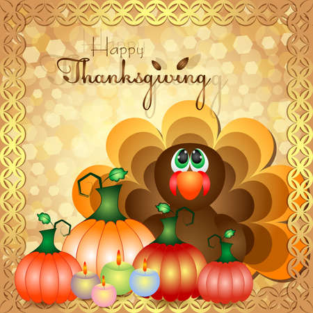 profusion: Postcard with turkey and harvest of pumpkins for congratulations with happy Thanksgiving in scrapbooking style. Vector illustration