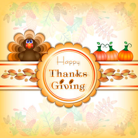 brown background texture: Postcard with turkey and three pumpkins for congratulations with happy Thanksgiving in retro scrapbooking style. Vector illustration