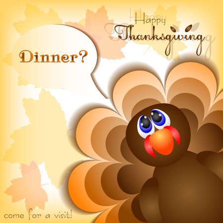 profusion: Postcard with funny turkey asking for dinner for congratulations with happy Thanksgiving. Vector illustration Illustration