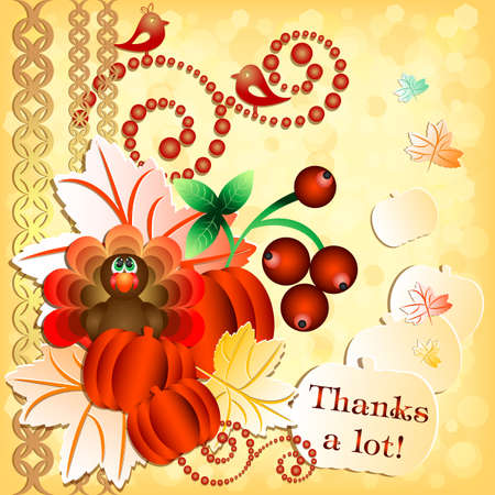 profusion: Postcard with turkey, pumpkins, berries and maple leaves for congratulations with happy Thanksgiving in scrapbooking style. Vector illustration Illustration
