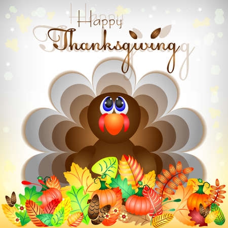 profusion: Postcard with funny turkey sitting in autumn leaves for congratulations with happy Thanksgiving. Vector illustration Illustration