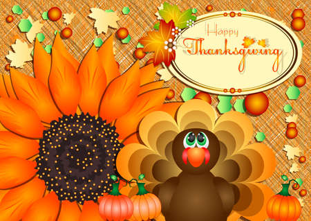 profusion: Postcard with turkey, pumpkins and big sunflower for congratulations with happy Thanksgiving in scrapbooking style. Vector illustration