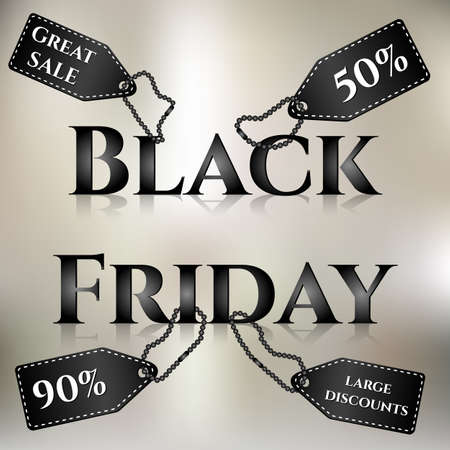 tremendous: Poster for day of Black Friday. Great sale, large discounts. Labels with different inscriptions inside on letters. Vector illustration