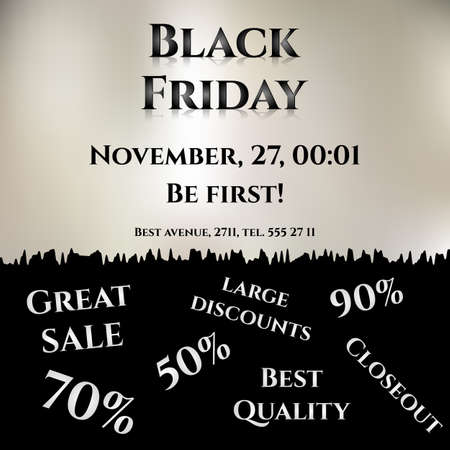 flier: Flier for day of Black Friday. Great sale, large discounts. Different shopping inscriptions on black. Vector illustration