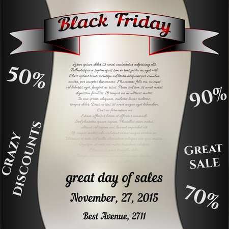 tremendous: Square flier for day of Black Friday. Great sale, large discounts. You can place your inscriptions on black and grey. Vector illustration
