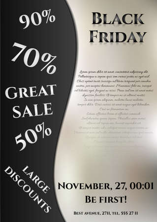 flier: Flier for day of Black Friday. Great sale, large discounts. You can place your inscriptions on black and grey. Vector illustration