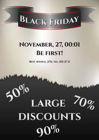 flier: Flier for day of Black Friday. Great sale, large discounts. Invitation for grand sale. Vector illustration Illustration