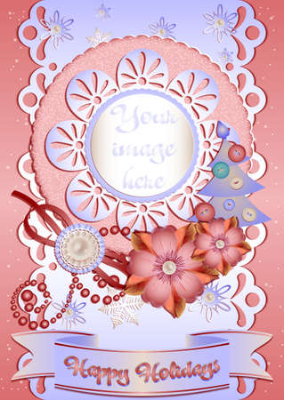 perl: Holiday card with scrap elements in pink and light blue colors in scrapbooking style for greeting with Christmas and New Year. Vector illustration