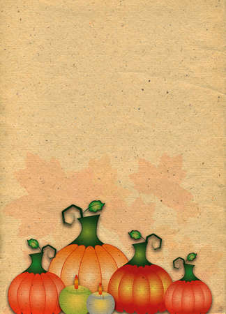 papier lettre: Abstract stylized paper backdrop with pumpkins. Raster illustration Banque d'images