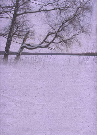 mauve: Stylized vintage paper background with winter landscape in light mauve. Raster illustration Stock Photo