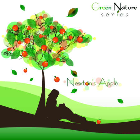 Abstract nature background with fructifying apple tree and sitting man under it. Newtons Apple - law of universal gravitation. Vector illustration
