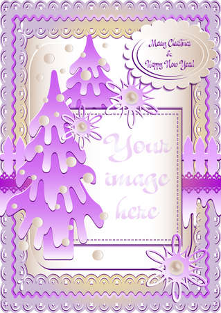 mauve: Holiday card with snow lawn in mauve colors in scrapbooking style for greeting with Christmas and New Year. Vertical version. Vector illustration