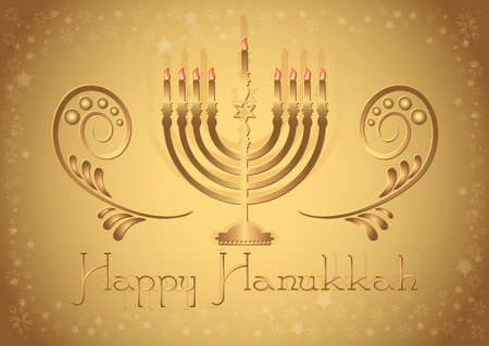 Postcard for congratulations with Festival of Lights, Feast of Dedication Hanukkah in golden colors. Vector illustration