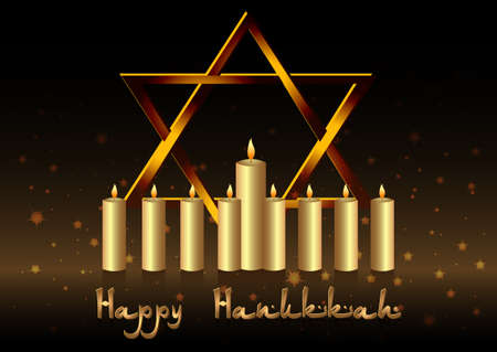 magen david: Postcard for congratulations with Festival of Lights, Feast of Dedication Hanukkah. Candles and Magen David on glitter black. Vector illustration Illustration