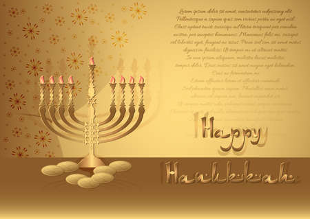 dedication: Postcard for congratulations with Festival of Lights, Feast of Dedication Hanukkah. Menorah and coins on table in golden colours. Vector illustration Illustration