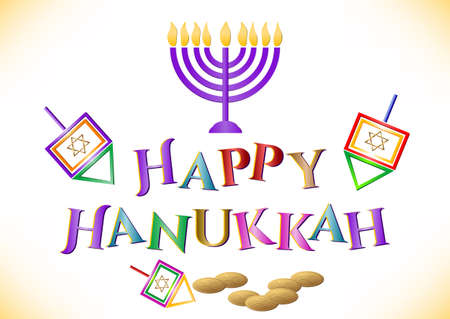 Postcard for congratulations with Festival of Lights, Feast of Dedication Hanukkah on white. Vector illustration Vectores