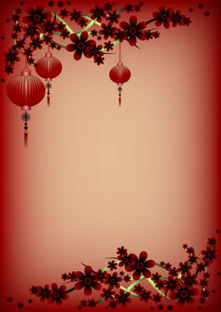 maroon background: Holiday greeting postcard with branch of sakura and sky lanterns on it to Chinese New Year on maroon background. Vector illustration