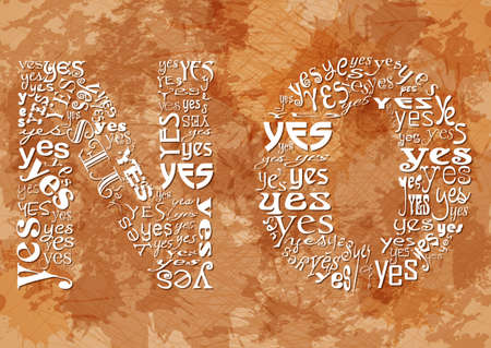 ambiguity: Word NO consisting of small YES on beige grunge background. Symbol of hidden meaning and ambiguity. Sign of indecision, contradiction, uncertainty and absence of response. Vector illustration Illustration