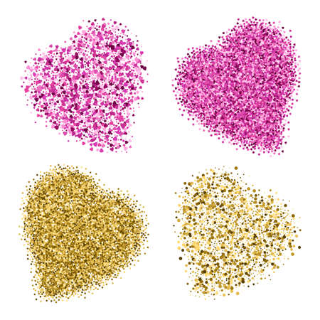 scattering: Shapes of four different hearts from golden glitter and pink scattering isolated on white. Four versions of heart for Valentines day in 14 February. illustration