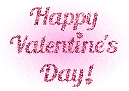 february 14: Lettering from pink glitter on Valentines day in February 14 isolated on white background. Words Happy Valentines day from pink scattering. illustration