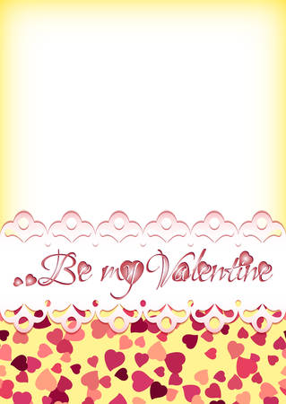 scattering: Festive background with scattering of hearts and greeting on lace for Valentines day in February 14 on white and yellow background. illustration Illustration