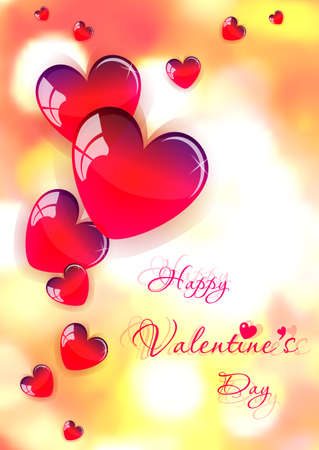 february 14: Holiday card with red glassy hearts on Valentines day. February 14 - day for all lovers. Orange blurred background with bokeh effect. illustration Illustration