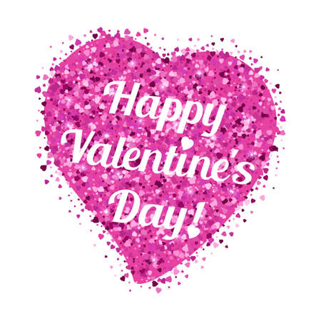 amor: Shape of heart from pink glitter from scattering of small hearts with lettering on Valentines day in February 14 isolated on white. Holiday postcard, festive Valentine. illustration