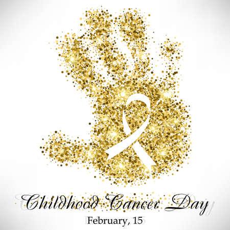 infancia: Forma de la mano del niño de brillo de oro con la cinta en el interior. Childhood Cancer día el 15 de febrero aislado sobre fondo blanco. ilustración vectorial