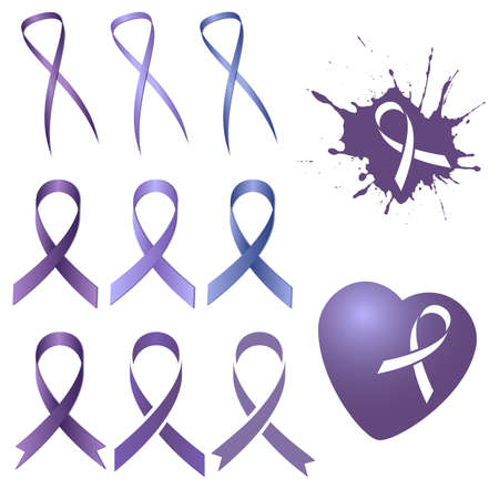 cure: Set of lavender ribbon in several different versions and tints of lilac isolated on white. World Cancer Day. Vector illustration