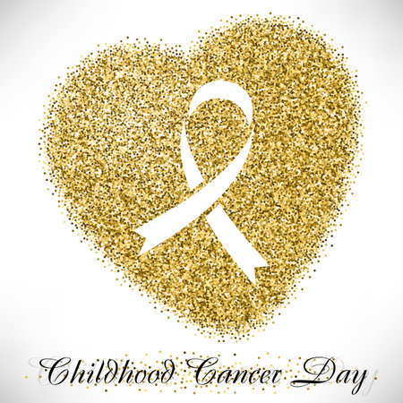 childhood cancer: Shape of heart from golden glitter with ribbon inside. Childhood Cancer day in February 15 isolated on white background. Vector illustration