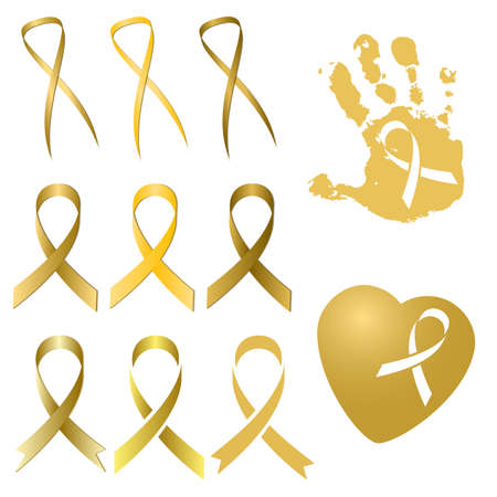 childhood cancer: Set of golden ribbon in several different versions and tints of gold isolated on white. International Childhood Cancer Day. Vector illustration