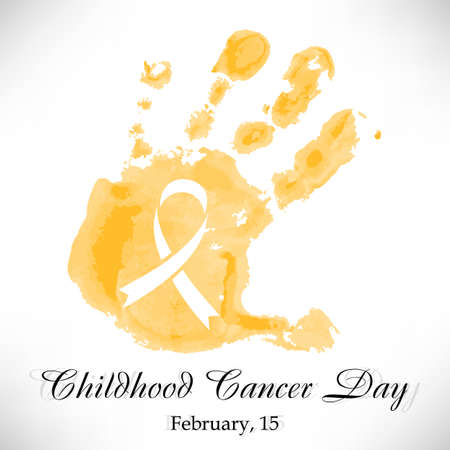 Shape of yellow watercolor child's hand with ribbon inside. Childhood Cancer day in February 15 isolated on white background. Vector illustration