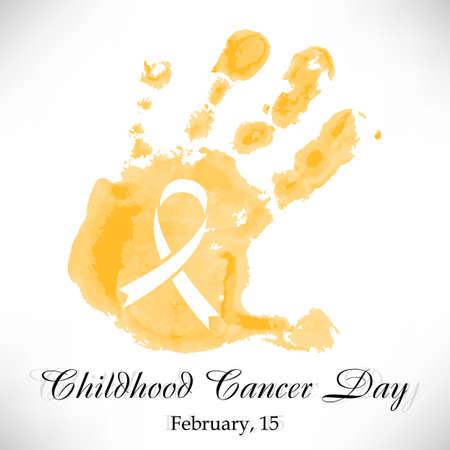 Forme de la main jaune aquarelle enfant avec ruban à l'intérieur. jour Childhood Cancer chez 15 Février isolé sur fond blanc. Vector illustration