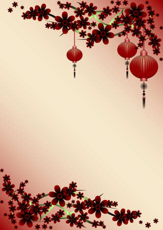 claret: Holiday greeting postcard with branch of sakura and sky lanterns on it to Chinese New Year on pale claret background. Vector illustration Illustration