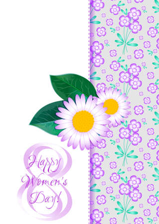 womanish: Greeting card with camomiles on background from lilac floral pattern for International Womens Day. March 8. Vector illustration. Seamless floral pattern see in my portfolio Illustration