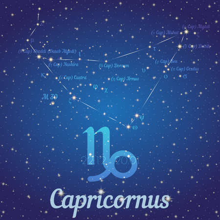 capricornus: Zodiac constellation Capricornus - position of stars and their names on deep blue starry sky. Symbol of sign zodiac and date according to Western astrology. Vector illustration Illustration