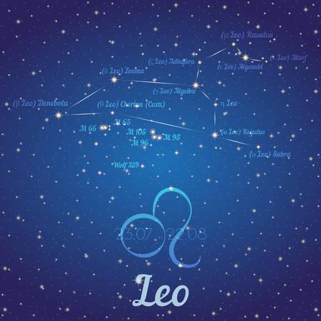 Zodiac Konstellation Leo - Position der Sterne und ihre Namen auf tiefblauen Sternenhimmel. Symbol der Zeichen Sternzeichen und Datum nach westlichen Astrologie. Vektor-Illustration Vektorgrafik