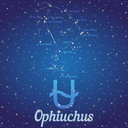 according: Zodiac constellation Ophiuchus - position of stars and their names on deep blue starry sky. Symbol of sign zodiac and date according to Western astrology. Vector illustration Illustration