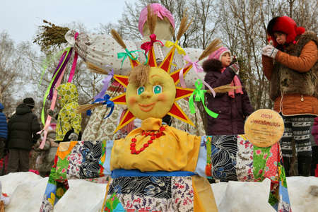 bugaboo: Doll Maslyonushka made by children for holiday of Shrovetide, February 22, 2015, Tula, Russia Editorial
