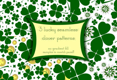 17 march: Set of three seamless floral patterns with lucky green clover. Green seamless ornamental background. Floral design. Shamrock leaves and flowers. Vector illustration