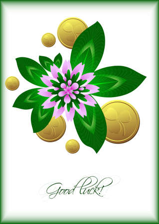 march 17: Holiday card with lucky clover leaves, flower and gold coins on white background for St. Patricks Day. March 17. Good luck. Vector illustration