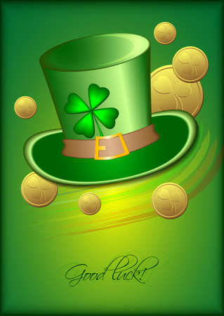 march 17: Holiday card with green hat, coins and clover on green background for St. Patricks Day. March 17. Good luck. Vector illustration