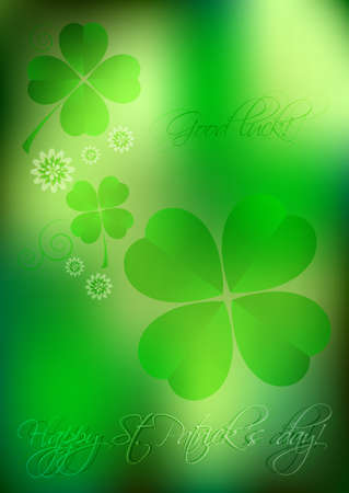 march 17: Holiday card on St. Patricks Day. March 17. Blurred green lucky background with clover leaves and flowers. Good luck. Vector illustration Illustration