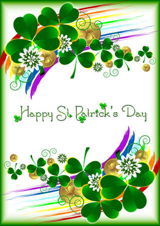 march 17: Holiday card with ornament from lucky shamrock leaves, flowers and gold coins on white background with rainbow for St. Patricks Day. March 17. Good luck. Vector illustration Illustration