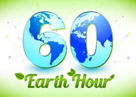 60: Card with number 60 and globe inside symbolizing 60 minutes in Earth Hour. Vector illustration Illustration