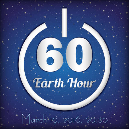 Card for Earth Hour - global annual international event on background of night starry blue sky. Power button and number 60 symbolizing 60 minutes inside. Vector illustration