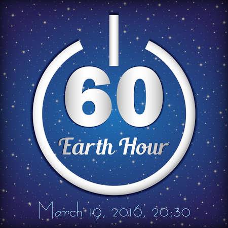 Card per Earth Hour - evento internazionale annuale globale sullo sfondo del cielo stellato blu. pulsante di accensione e il numero 60 simboleggia 60 minuti all'interno. illustrazione di vettore