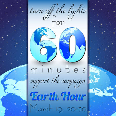 Card for Earth Hour - global annual international event on background of night starry blue sky and globe. Vector illustration